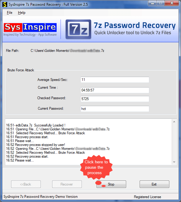 SysInspire 7z password recovery
