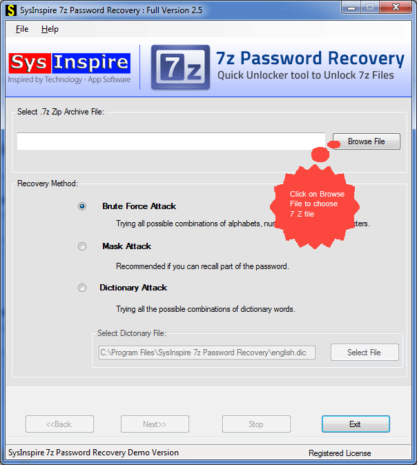 Startup screen of 7z password recovery