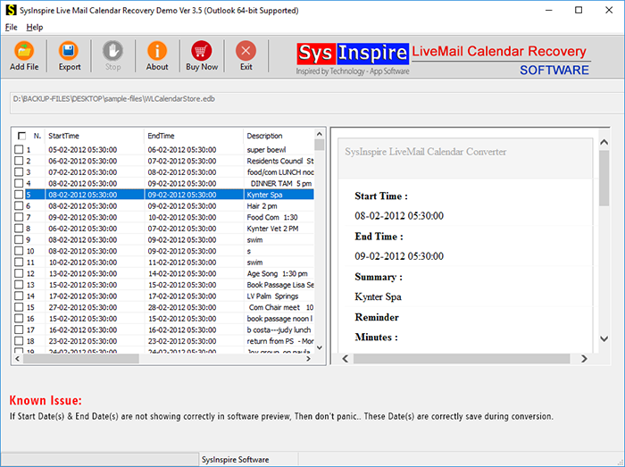 SysInspire Live Mail Calendar Recovery Tool