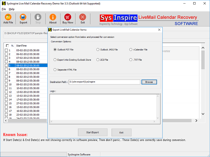 convert live mail calendar into pst, msg, vcal, ics and html file