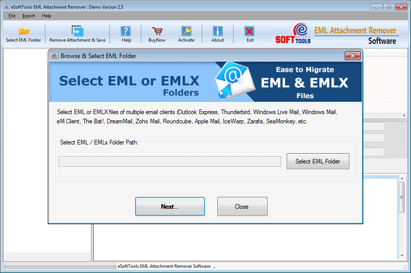 Selection of EML folder