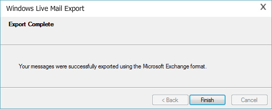 completed Export of EML files into Outlook 365