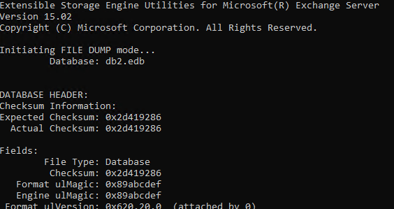 ESEUTIL Command to Repair Exchange Database