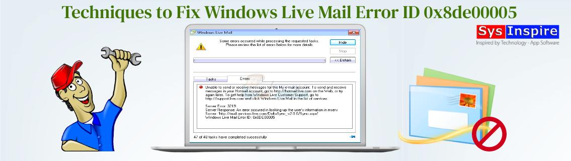 Windows Live Mail Error ID 0x8de00005