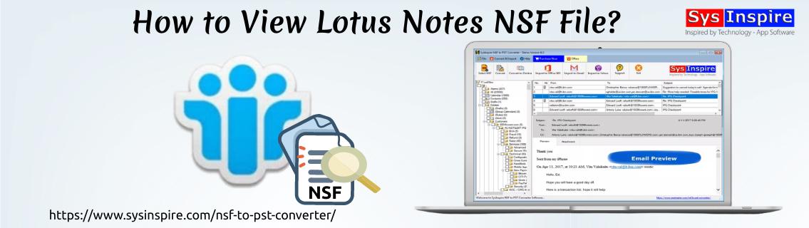 View Lotus Notes NSF File