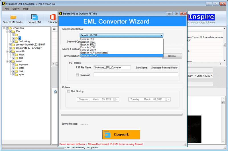 Convert EML files file