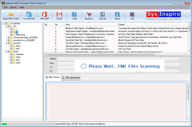 Scanning EML files