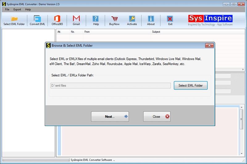 Select EML file