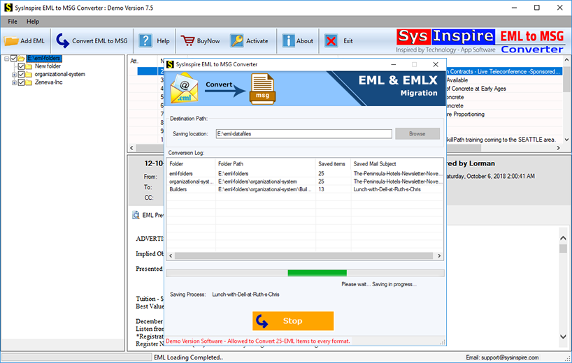 Windows 7 EML to MSG Converter 5.5 full