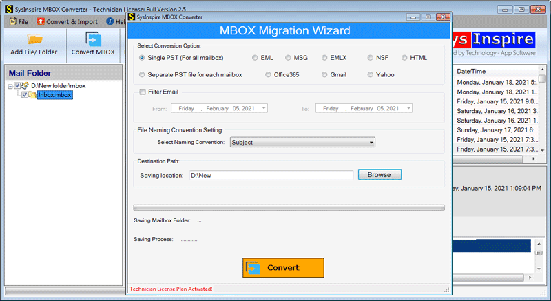 Convert MBOX file