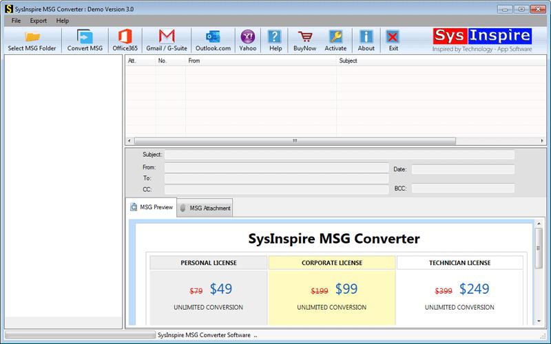 MSG Converter first screen