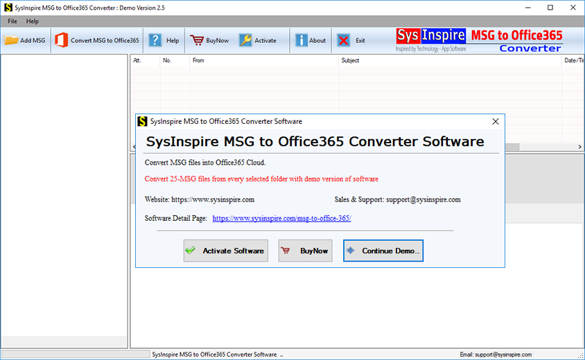 import msg to office365