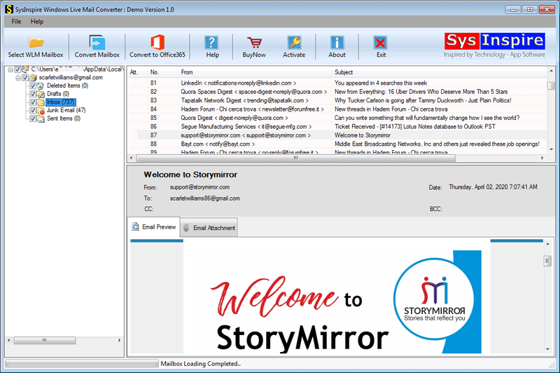 SysInspire Windows Live Mail Converter full screenshot